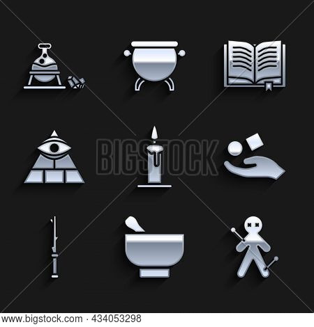 Set Burning Candle In Candlestick, Magic Mortar Pestle, Voodoo Doll, Cube Levitating Above Hand, Wan