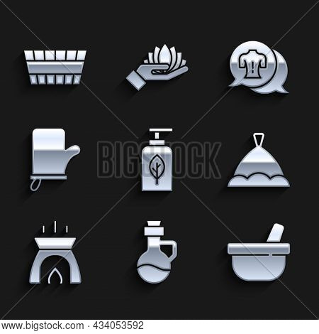 Set Essential Oil Bottle, Mortar And Pestle, Sauna Hat, Aroma Candle, Mittens, Massage And Bucket Ic