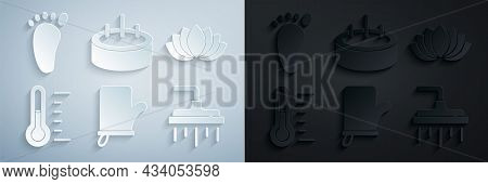 Set Sauna Mittens, Lotus Flower, Thermometer, Shower Head, Swimming Pool With Ladder And Foot Massag