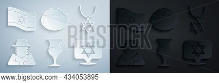 Set Jewish Goblet, Star Of David Necklace On Chain, Orthodox Jewish Hat, Sweet Bakery And Flag Israe