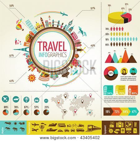 Travel info graphics with data icons and elements