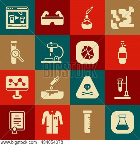 Set Test Tube And Flask, On Fire, Propane Gas Tank, Microscope, Chemical Online And Salt Stone Icon.