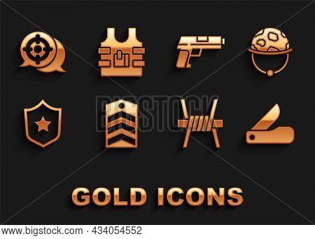 Set Chevron, Military Helmet, Swiss Army Knife, Barbed Wire, Reward Medal, Pistol Or Gun, Target Spo