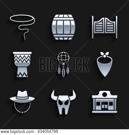 Set Dream Catcher With Feathers, Buffalo Skull, Wild West Saloon, Cowboy Bandana, Western Cowboy Hat
