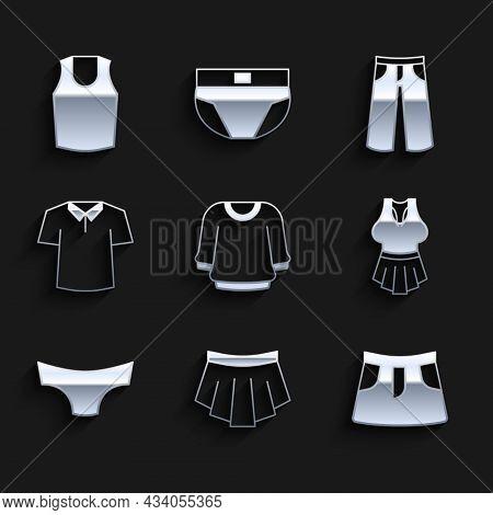 Set Sweater, Skirt, Undershirt, Men Underpants, Shirt, Pants And Icon. Vector