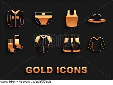 Set T-shirt, Man Hat, Sweater, Short Or Pants, Socks, Undershirt, Shirt And Men Underpants Icon. Vec