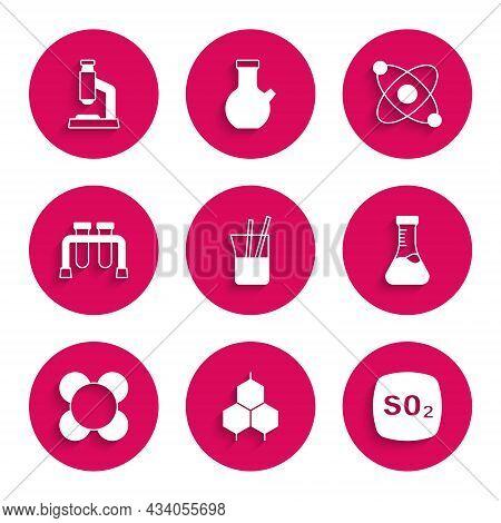 Set Laboratory Glassware, Chemical Formula, Sulfur Dioxide So2, Test Tube, Molecule, Atom And Micros
