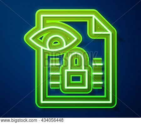 Glowing Neon Line Journalistic Investigation Icon Isolated On Blue Background. Financial Crime, Tax