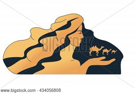 The Image Of The Desert. Girl With Camels. A Caravan Of Camels Going Into The Distance. Vector Illus