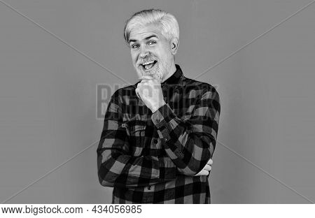Brutal Male Blonde Hair. Man Casual Fashion Style. Look Like Farmer. Barber Master With Moustache. B