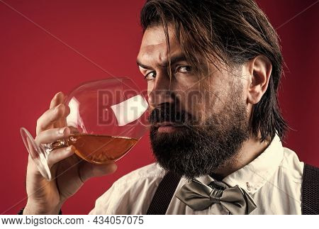 Just One Sip. Brutal Handsome Man With Moustache. Mature Guy With Whiskey. Masculinity And Charisma.