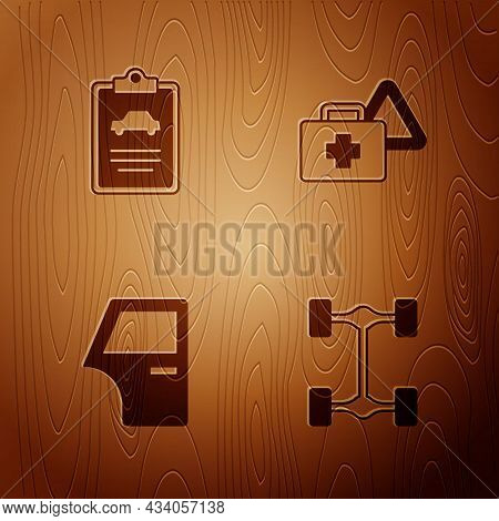 Set Chassis Car, Car Inspection, Door And First Aid Kit And Warning Triangle On Wooden Background. V