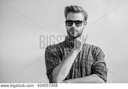 Ultraviolet Protection Concept. Man Eyewear Model Outdoors Blue Sky Background. Perfect Vision. See