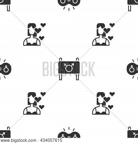Set Gender Equality, Feminist Activist And Love Yourself On Seamless Pattern. Vector