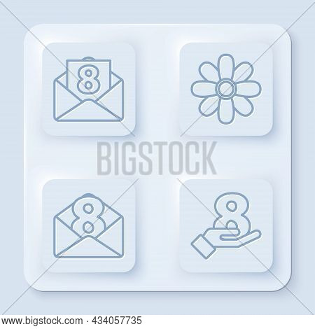 Set Line Envelope With 8 March, Flower, Envelope With 8 March And 8 March On Hand. White Square Butt