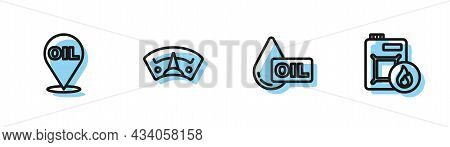 Set Line Oil Drop, Refill Petrol Fuel Location, Motor Gas Gauge And Canister For Motor Oil Icon. Vec