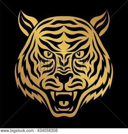 Front View Of Angry Roaring Toothy Tiger Face. Head Of Ferocious Tiger Black And Gold Portrait. Symb