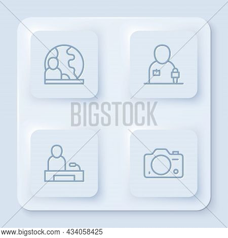 Set Line World News, Journalist, Television Report And Photo Camera. White Square Button. Vector