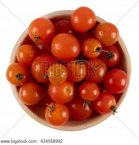 Fresh Ripe Cherry Tomatoes In Bowl Isolated On White Background, Top View.
