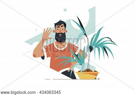 Bearded Guy On Video Call Vector Illustration. Man Wave Hello And Chat With Remote Connection On Dev