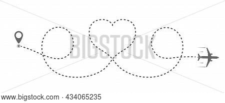 Plane's Course Line Describes The Shape Of The Heart. Flat Design