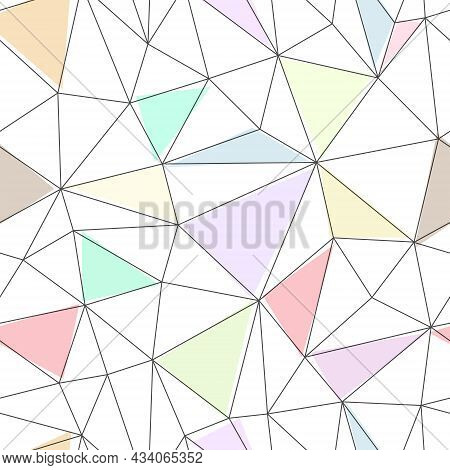 Seamless Vector Linear Pattern Forms Triangles With Colored Faces. Vector Illustrations For Textures