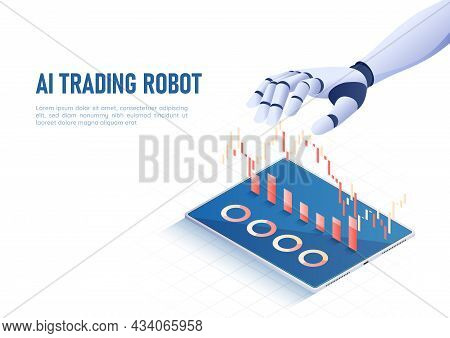 3d Isometric Web Banner Ai Artificial Intelligence Hand Contoling Stock Market Graph And Chart. Ai A