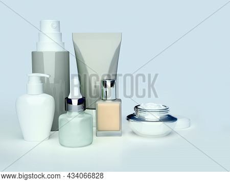 Daily, Beauty Care Cosmetic. Face Cream, Eye Cream, Serum And Lip Balm. Skin Care. 3d Illustration