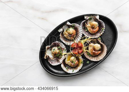 Scallops In Shell Seafood Tapas Portion On Table In Barcelona Restaurant Spain