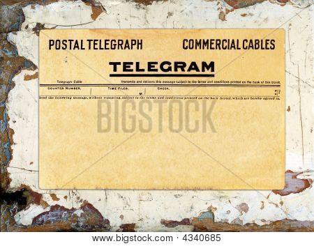 Telegram On Grungy Painted Wood