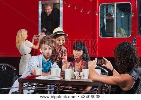 Aufnahmen bei mobilen café