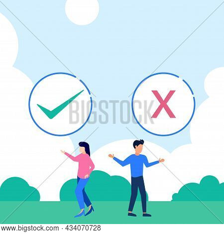 Vector Illustration Of Flat Style Selection Of Pros And Cons Advantages Comparison Options In Concep