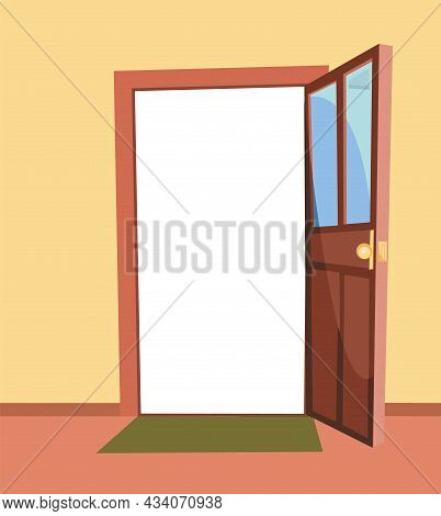 Opened Door. Simple And Flat Style. Inside View From The Room Of The House. Yellow Wall. Open. Carto