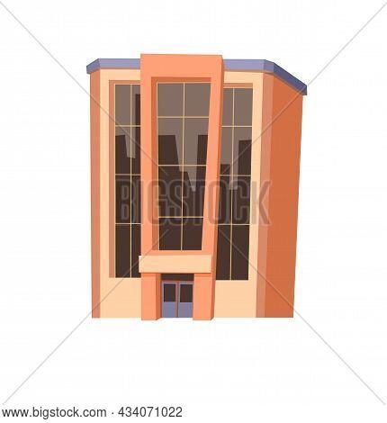Orange City Building. Cartoon Fun Flat Style. Isolated On White Background. Supermarket, Shop Or Bus