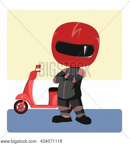 Scooter Driver. Biker Cartoon. Child Illustration. To Stand. In A Sports Uniform And A Red Helmet. C