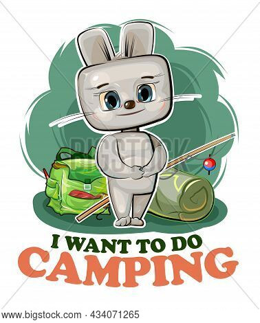 Funny Cute Baby Hare. He Asks To Take Him Camping. Backpack M Fishing Rod. Naive Animal Child. Carto