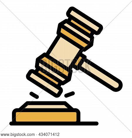 Judge Hammer Icon. Outline Judge Hammer Vector Icon Color Flat Isolated