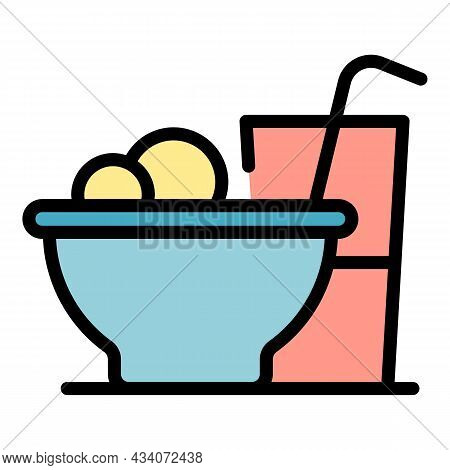 Lunch Icon. Outline Lunch Vector Icon Color Flat Isolated