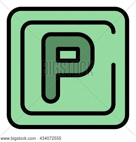 Parking Sign Icon. Outline Parking Sign Vector Icon Color Flat Isolated