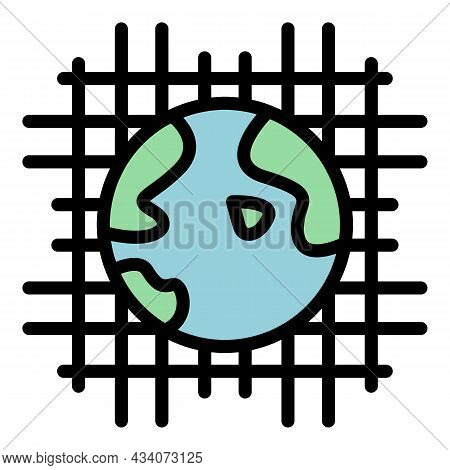 Global Net Interaction Icon. Outline Global Net Interaction Vector Icon Color Flat Isolated
