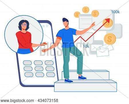 Financial Advisor Online Service With Businessman Getting Professional Online Consultation. Financia