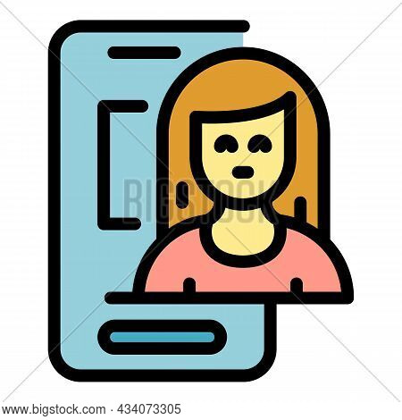 Woman Smartphone Interaction Icon. Outline Woman Smartphone Interaction Vector Icon Color Flat Isola
