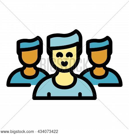 Group People Interaction Icon. Outline Group People Interaction Vector Icon Color Flat Isolated