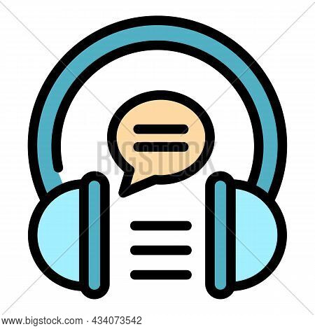 Lesson Audio Experience Icon. Outline Lesson Audio Experience Vector Icon Color Flat Isolated
