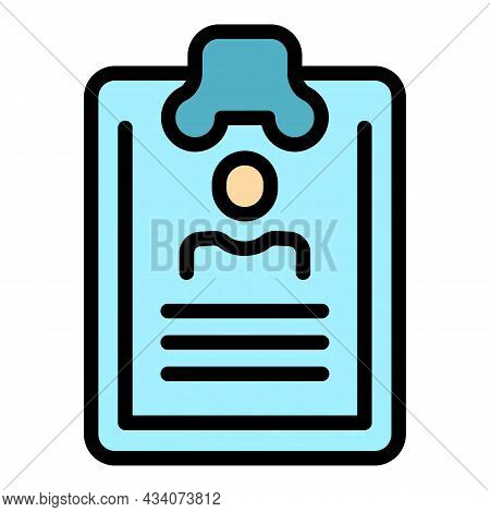 Manager Clipboard Icon. Outline Manager Clipboard Vector Icon Color Flat Isolated
