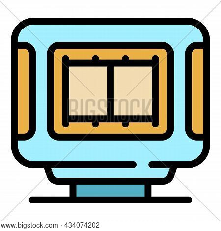 Interactive Tv Video Icon. Outline Interactive Tv Video Vector Icon Color Flat Isolated
