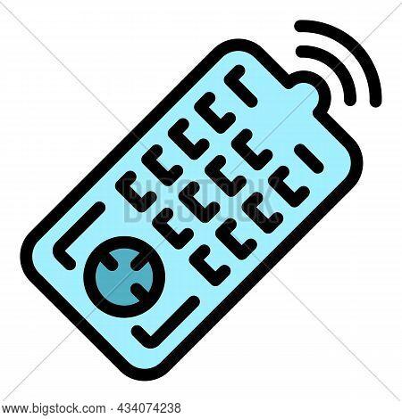 Interactive Tv Remote Control Icon. Outline Interactive Tv Remote Control Vector Icon Color Flat Iso