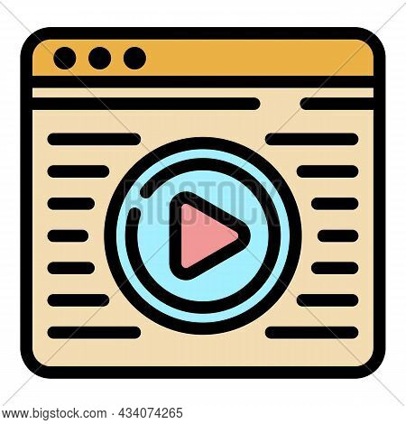 Interactive Tv Web Page Icon. Outline Interactive Tv Web Page Vector Icon Color Flat Isolated