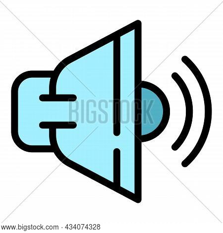 Interactive Tv Sound Icon. Outline Interactive Tv Sound Vector Icon Color Flat Isolated