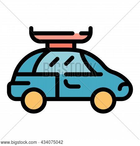 Car Roof Container Icon. Outline Car Roof Container Vector Icon Color Flat Isolated